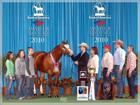 World Champion 2YO Stallion at the 2010 AQHA Adequan Select World Show.  1st place under four out of five judges...